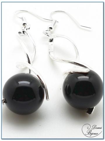 boucles d'oreilles fantaisie argenté spirale et perles d'onyx 14mm