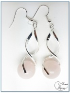 Boucle Oreille fantaisie argentée spirale perle onyx 14mm