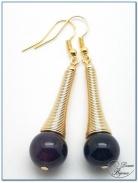 boucles d'oreilles fantaisie finition doré cône spirale perle onyx 12mm